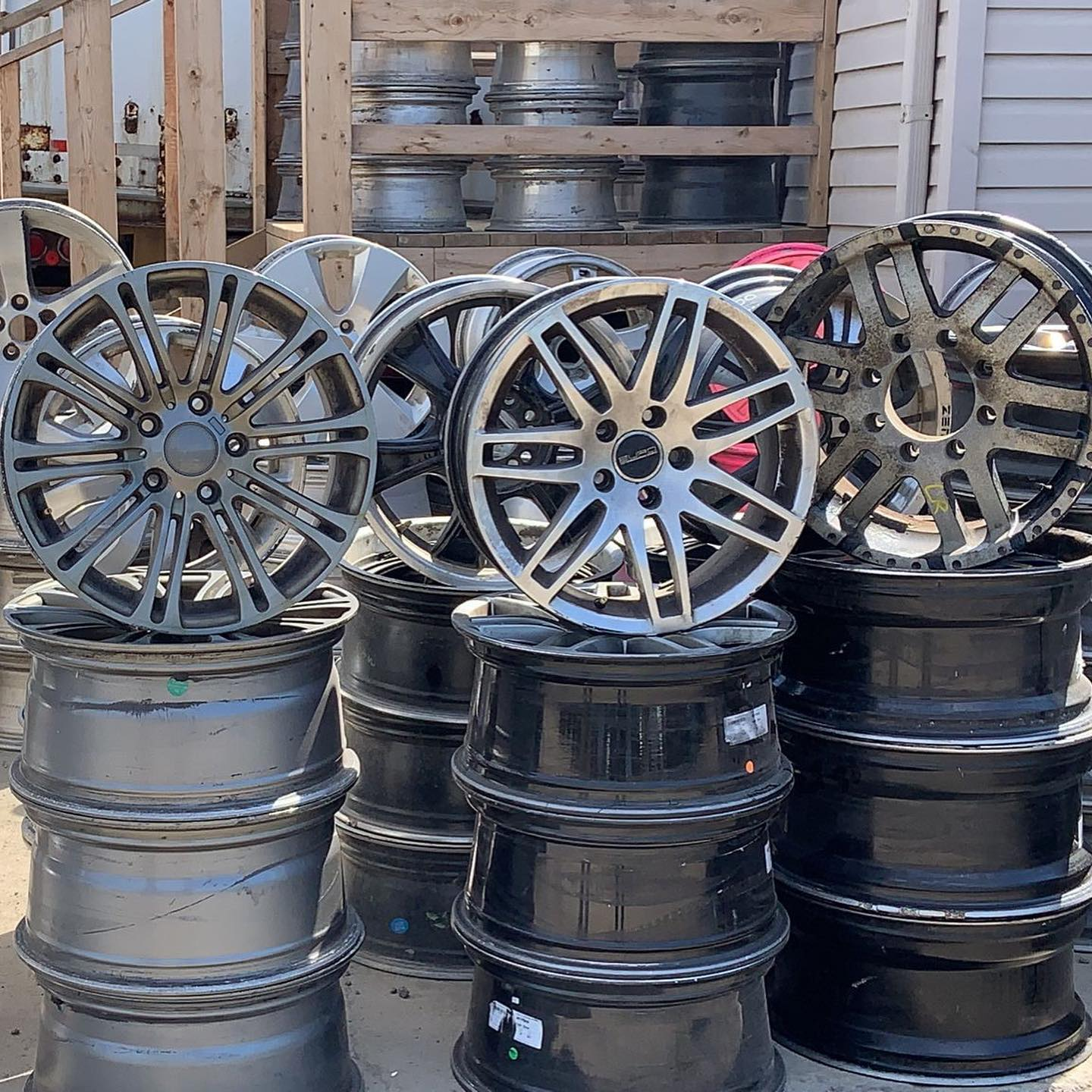 Assorted Rim sets at the Tire Shop.